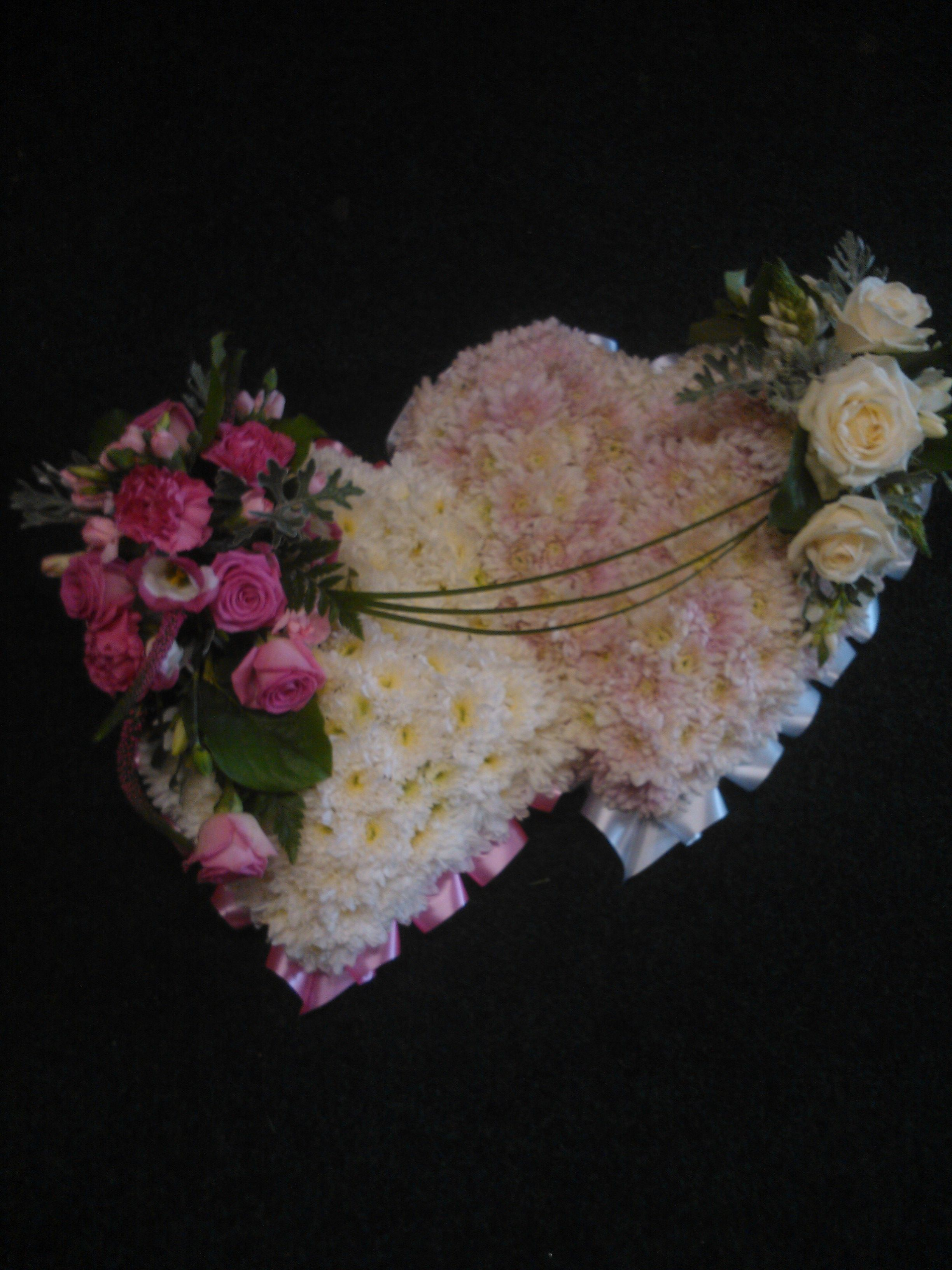 Funeral flowers floralcraft flowers double heart funeral tribute flowers izmirmasajfo Images